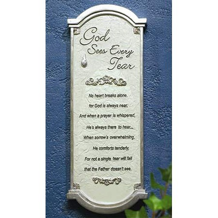 God Sees Every Tear Memorial Wall Plaque and Card