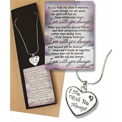 I am with you always Heart Shaped Pendant and Necklace