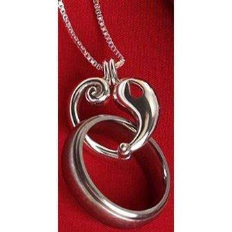 Reunion Heart Memorial Ring Holder Necklace